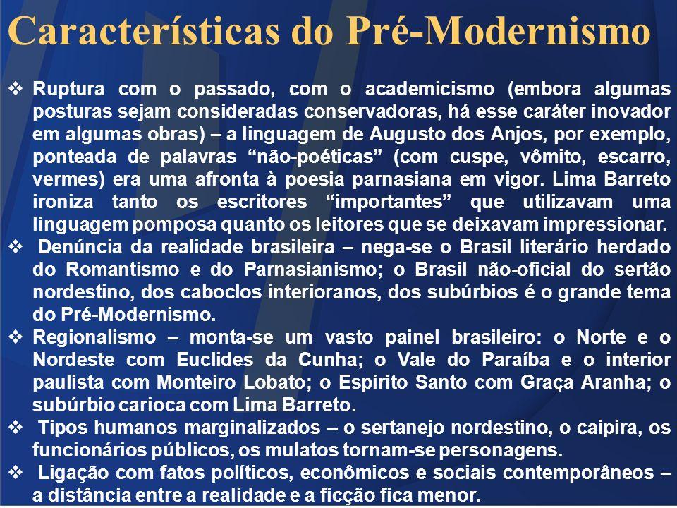 Características do Pré-Modernismo Ruptura com o passado, com o academicismo (embora algumas posturas sejam consideradas conservadoras, há esse caráter