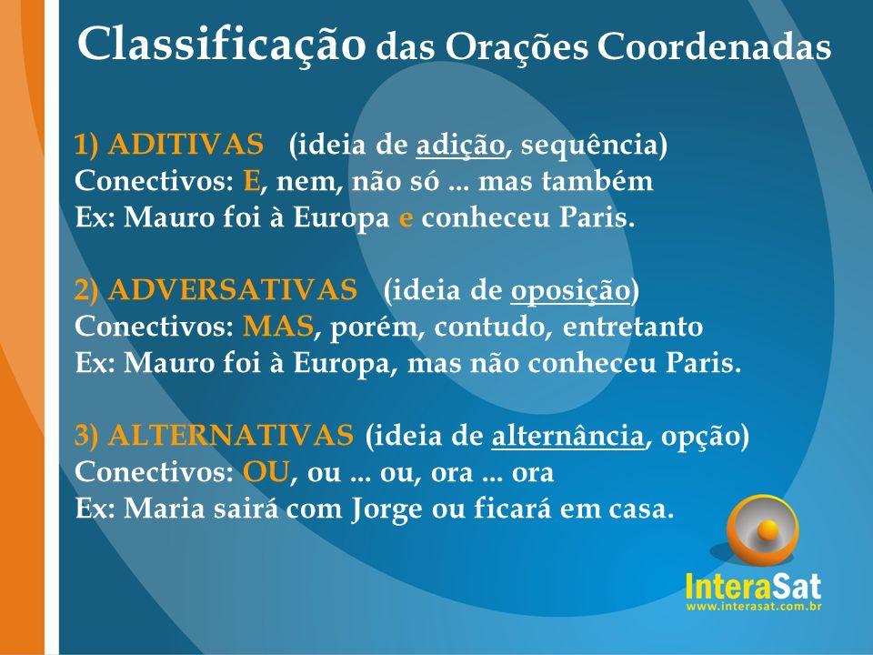 Classificação das Orações Coordenadas 1)ADITIVAS (ideia de adição, sequência) Conectivos: E, nem, não só... mas também Ex: Mauro foi à Europa e conhec