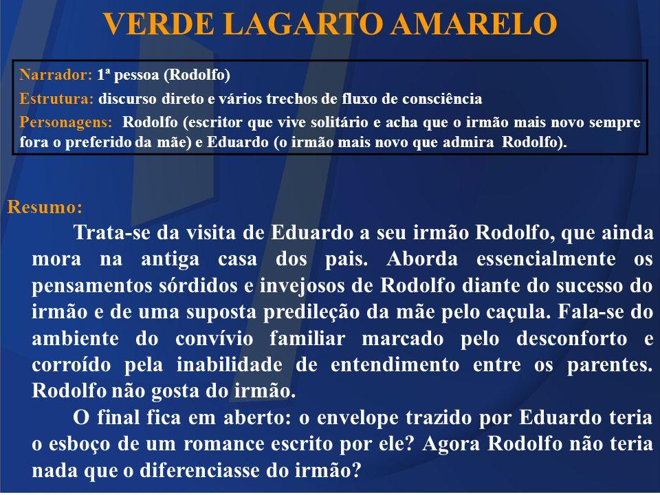 VERDE LAGARTO AMARELO Resumo: Trata-se da visita de Eduardo a seu irmão Rodolfo, que ainda mora na antiga casa dos pais. Aborda essencialmente os pens