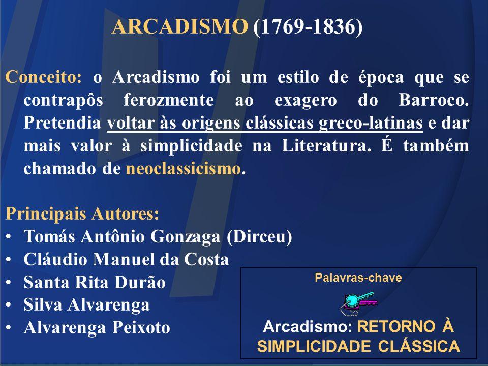 ARCADISMO (1769-1836) Conceito: o Arcadismo foi um estilo de época que se contrapôs ferozmente ao exagero do Barroco. Pretendia voltar às origens clás