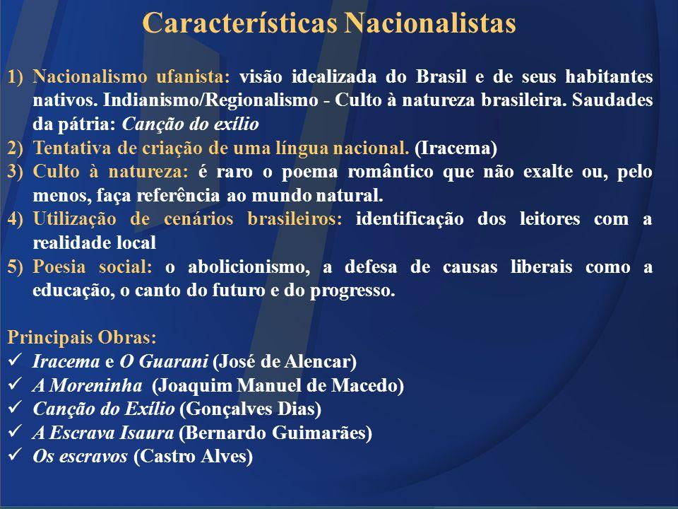 Características Nacionalistas 1)Nacionalismo ufanista: visão idealizada do Brasil e de seus habitantes nativos. Indianismo/Regionalismo - Culto à natu