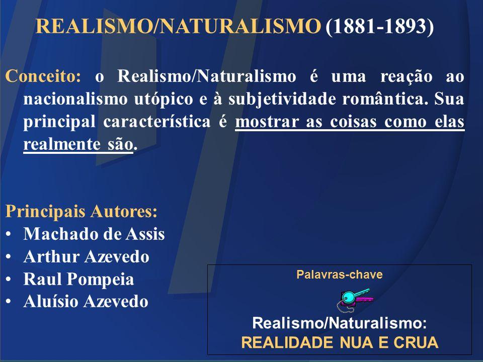 REALISMO/NATURALISMO (1881-1893) Conceito: o Realismo/Naturalismo é uma reação ao nacionalismo utópico e à subjetividade romântica. Sua principal cara