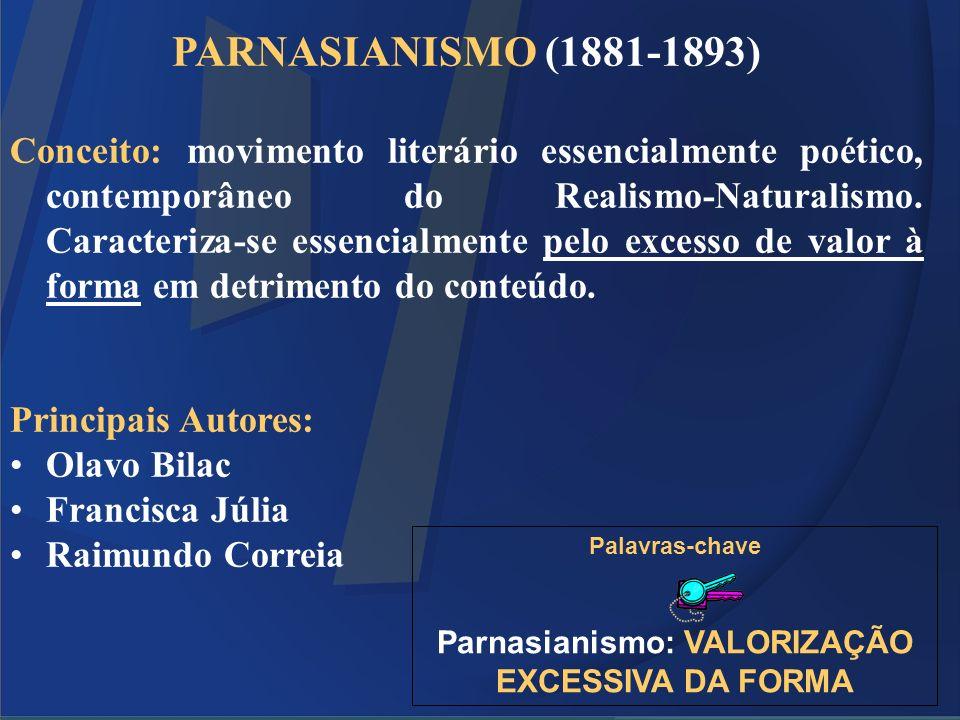 PARNASIANISMO (1881-1893) Conceito: movimento literário essencialmente poético, contemporâneo do Realismo-Naturalismo. Caracteriza-se essencialmente p