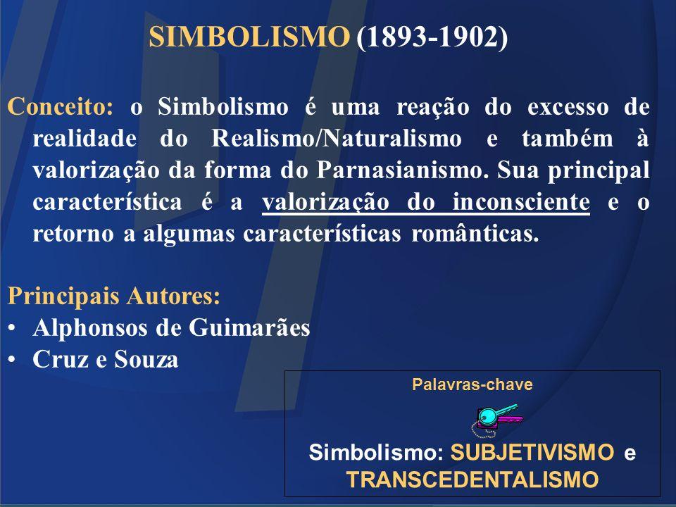 SIMBOLISMO (1893-1902) Conceito: o Simbolismo é uma reação do excesso de realidade do Realismo/Naturalismo e também à valorização da forma do Parnasia