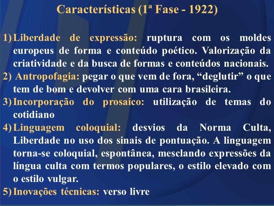Características (1ª Fase - 1922) 1)Liberdade de expressão: ruptura com os moldes europeus de forma e conteúdo poético. Valorização da criatividade e d