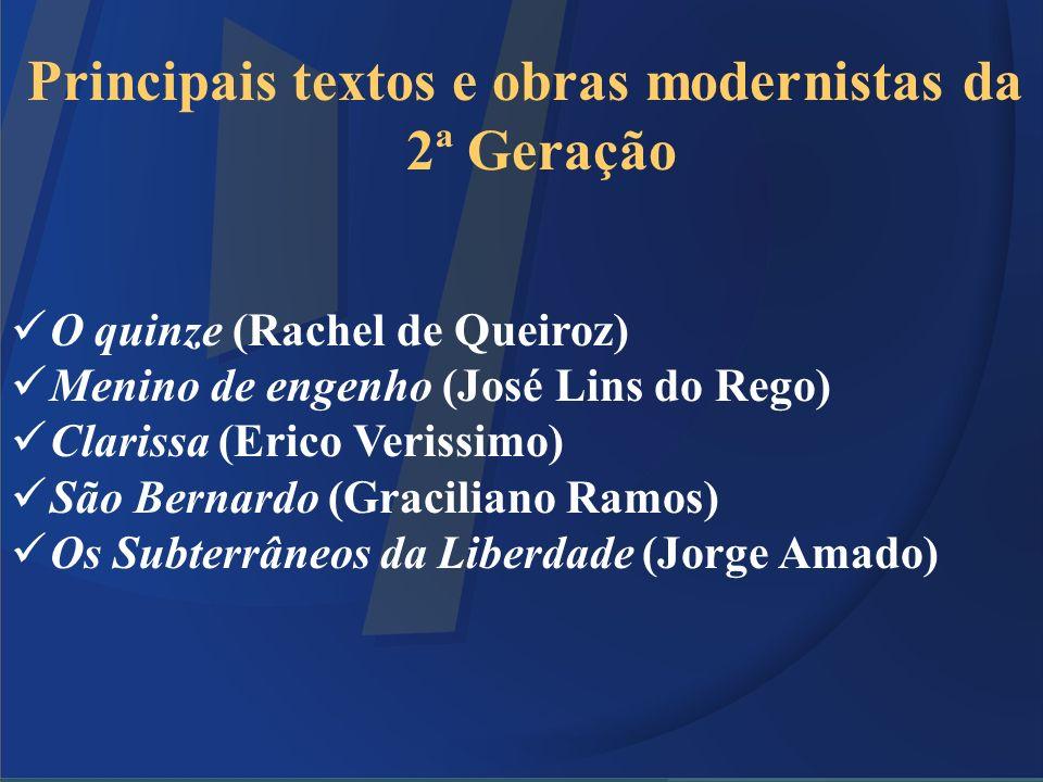 Principais textos e obras modernistas da 2ª Geração O quinze (Rachel de Queiroz) Menino de engenho (José Lins do Rego) Clarissa (Erico Verissimo) São