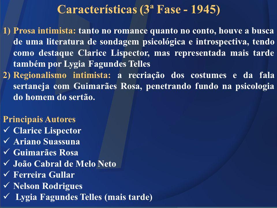 Características (3ª Fase - 1945) 1)Prosa intimista: tanto no romance quanto no conto, houve a busca de uma literatura de sondagem psicológica e intros