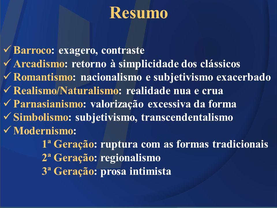 Resumo Barroco: exagero, contraste Arcadismo: retorno à simplicidade dos clássicos Romantismo: nacionalismo e subjetivismo exacerbado Realismo/Natural