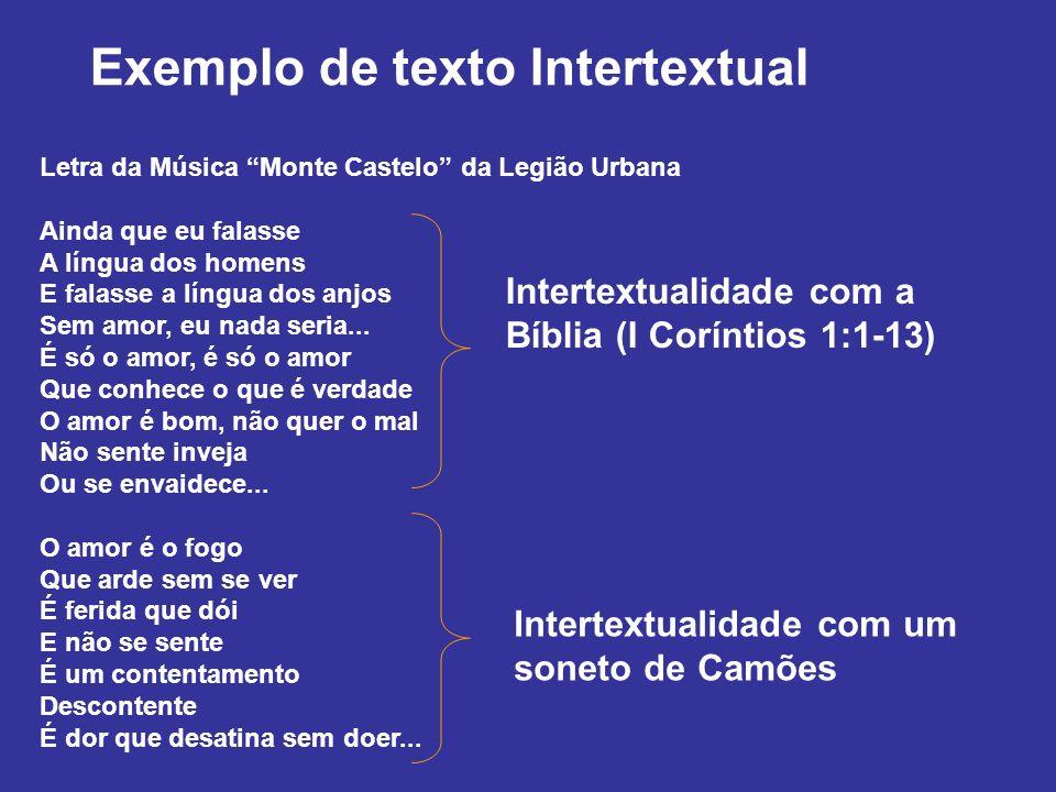 Intertextualidade com a Bíblia (I Coríntios 1:1-13) Letra da Música Monte Castelo da Legião Urbana Ainda que eu falasse A língua dos homens E falasse