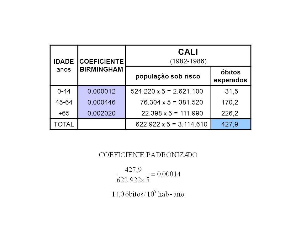 IDADE anos COEFICIENTE BIRMINGHAM CALI (1982-1986) população sob risco óbitos esperados 0-440,000012524.220 x 5 = 2.621.10031,5 45-640,00044676.304 x
