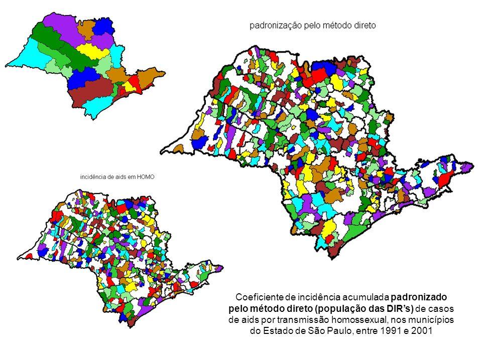 Coeficiente de incidência acumulada padronizado pelo método direto (população das DIRs) de casos de aids por transmissão homossexual, nos municípios d