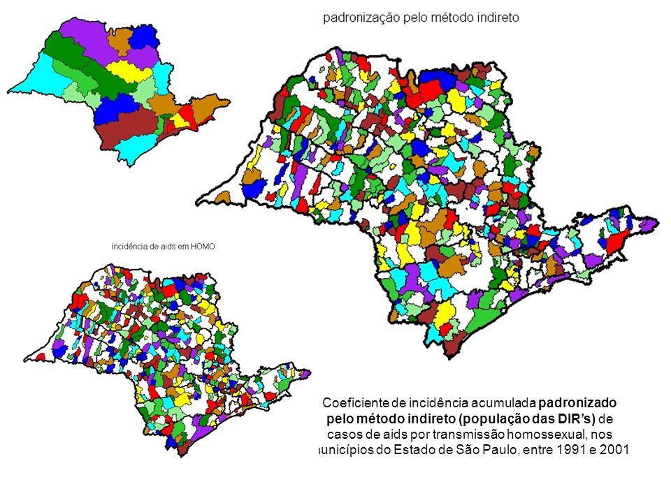 Coeficiente de incidência acumulada padronizado pelo método indireto (população das DIRs) de casos de aids por transmissão homossexual, nos municípios