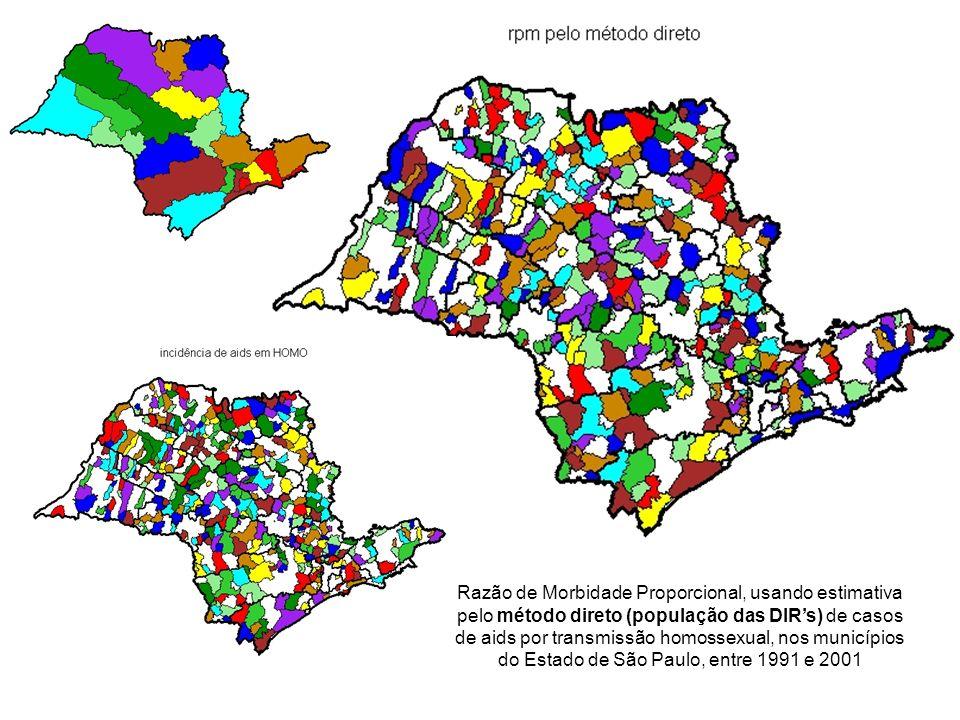 Razão de Morbidade Proporcional, usando estimativa pelo método direto (população das DIRs) de casos de aids por transmissão homossexual, nos município