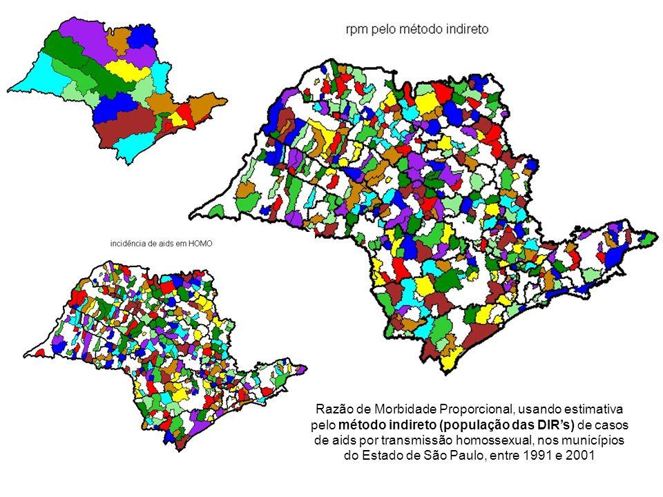 Razão de Morbidade Proporcional, usando estimativa pelo método indireto (população das DIRs) de casos de aids por transmissão homossexual, nos municíp