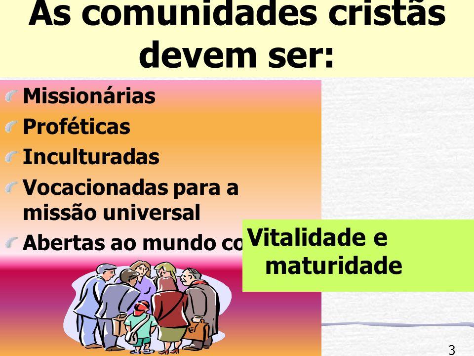 As comunidades cristãs devem ser: Missionárias Proféticas Inculturadas Vocacionadas para a missão universal Abertas ao mundo com Vitalidade e maturidade 3