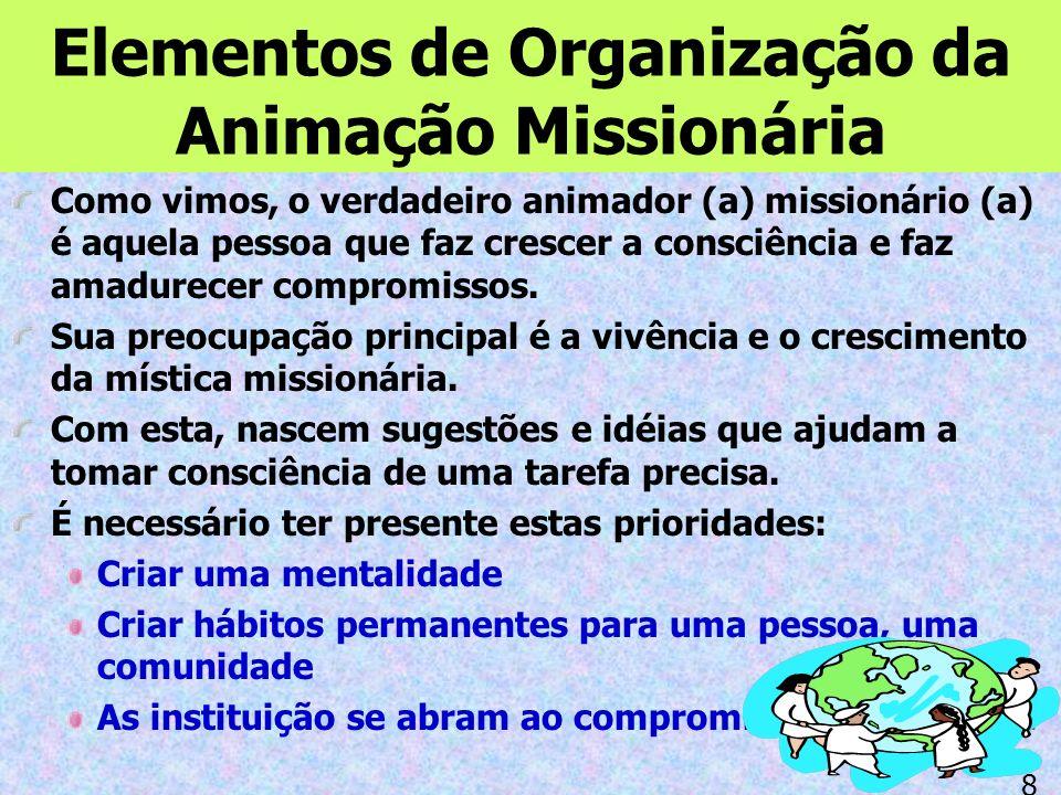 Elementos de Organização da Animação Missionária Como vimos, o verdadeiro animador (a) missionário (a) é aquela pessoa que faz crescer a consciência e faz amadurecer compromissos.