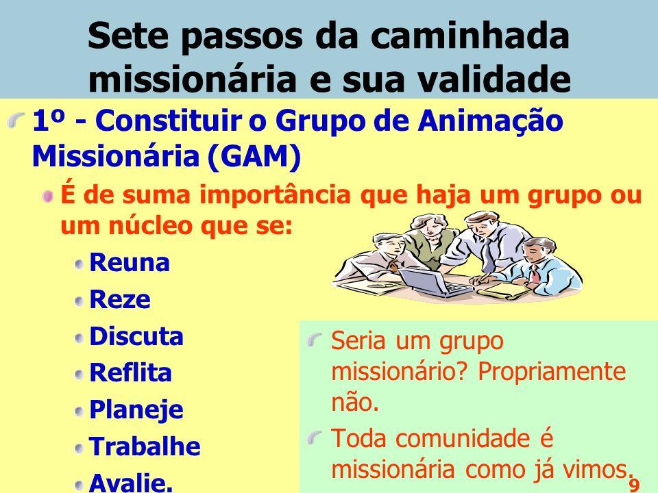Sete passos da caminhada missionária e sua validade 1º - Constituir o Grupo de Animação Missionária (GAM) É de suma importância que haja um grupo ou um núcleo que se: Reuna Reze Discuta Reflita Planeje Trabalhe Avalie.