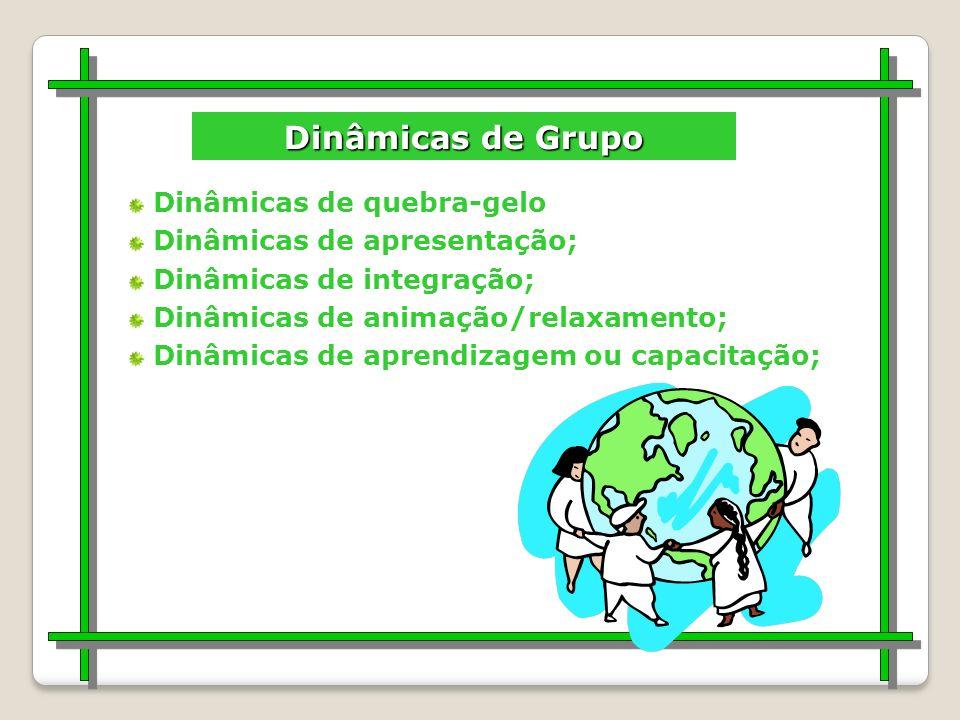 DINÂMICA DE GRUPO Estabelecer um contrato verbal O que eu me proponho a dar ao grupo; O que eu espero receber do grupo