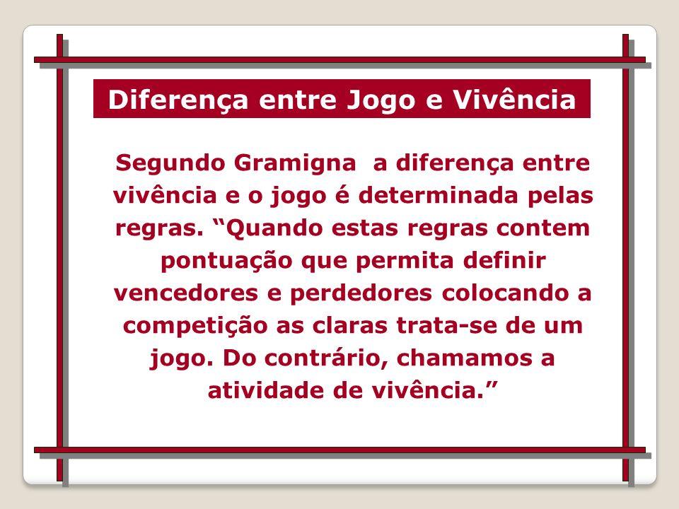 Segundo Gramigna a diferença entre vivência e o jogo é determinada pelas regras.