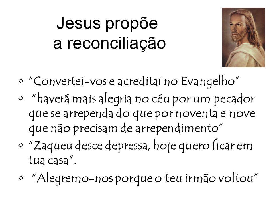 Jesus propõe a reconciliação Convertei-vos e acreditai no Evangelho haverá mais alegria no céu por um pecador que se arrependa do que por noventa e no