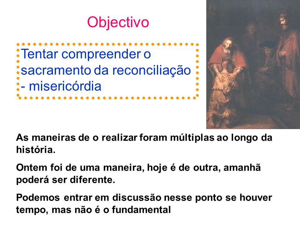 Objectivo Tentar compreender o sacramento da reconciliação - misericórdia As maneiras de o realizar foram múltiplas ao longo da história. Ontem foi de