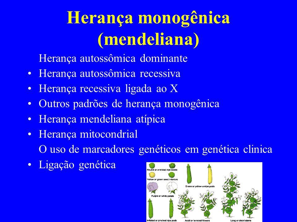 Herança monogênica (mendeliana) Herança autossômica dominante Herança autossômica recessiva Herança recessiva ligada ao X Outros padrões de herança mo