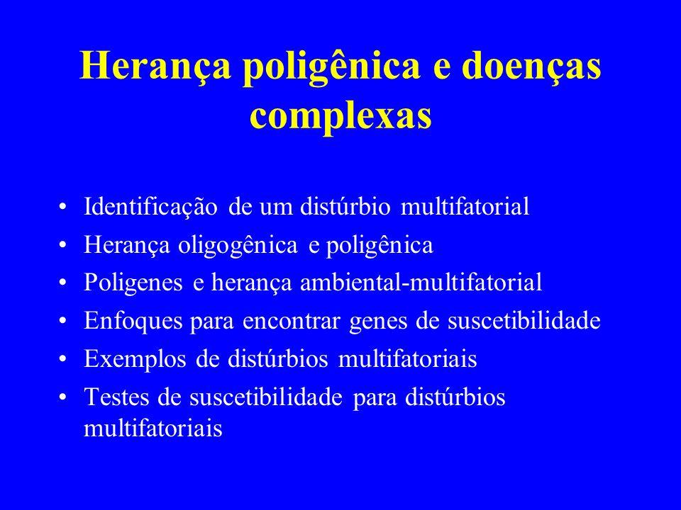Herança poligênica e doenças complexas Identificação de um distúrbio multifatorial Herança oligogênica e poligênica Poligenes e herança ambiental-mult