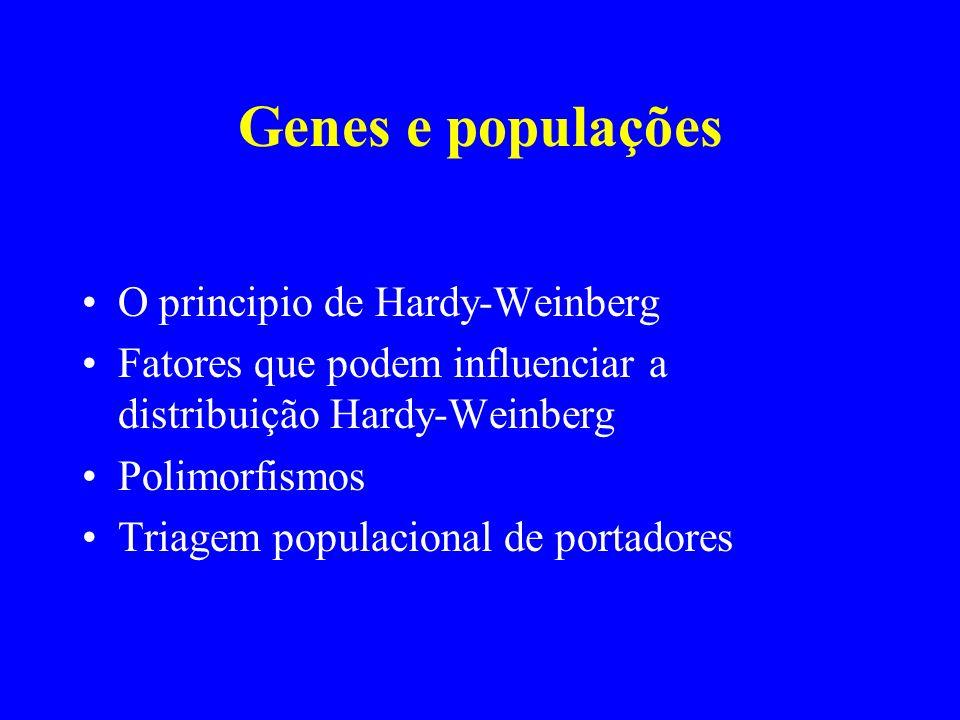 Genes e populações O principio de Hardy-Weinberg Fatores que podem influenciar a distribuição Hardy-Weinberg Polimorfismos Triagem populacional de por