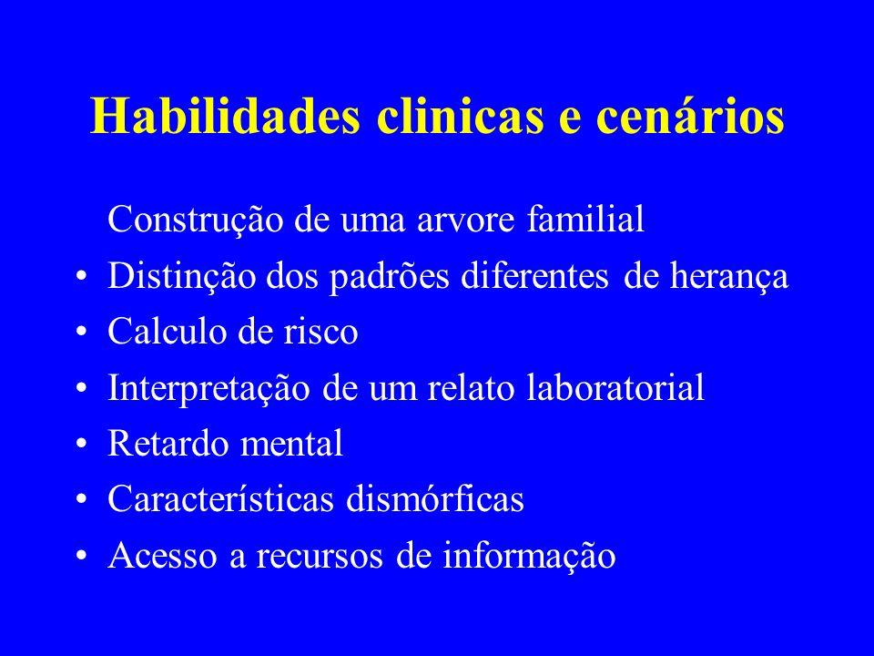 Habilidades clinicas e cenários Construção de uma arvore familial Distinção dos padrões diferentes de herança Calculo de risco Interpretação de um rel