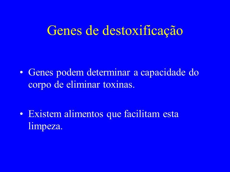 Genes de destoxificação Genes podem determinar a capacidade do corpo de eliminar toxinas. Existem alimentos que facilitam esta limpeza.