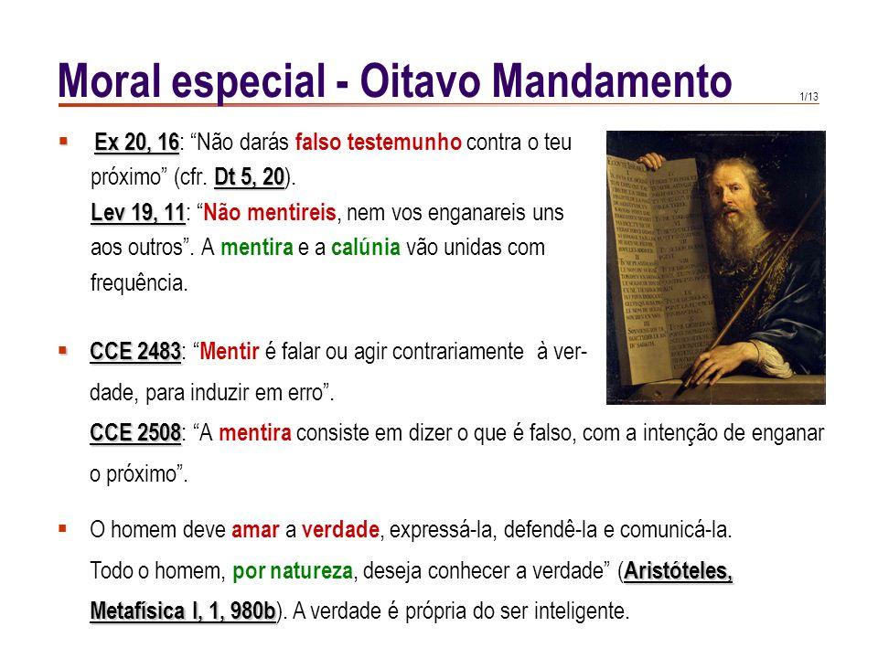 1/13 Ex 20, 16 Ex 20, 16 : Não darás falso testemunho contra o teu Dt 5, 20 próximo (cfr.