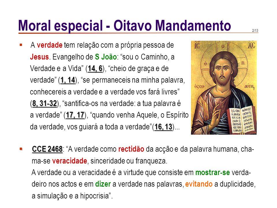 1/13 Ex 20, 16 Ex 20, 16 : Não darás falso testemunho contra o teu Dt 5, 20 próximo (cfr. Dt 5, 20 ). Lev 19, 11 Lev 19, 11 : Não mentireis, nem vos e
