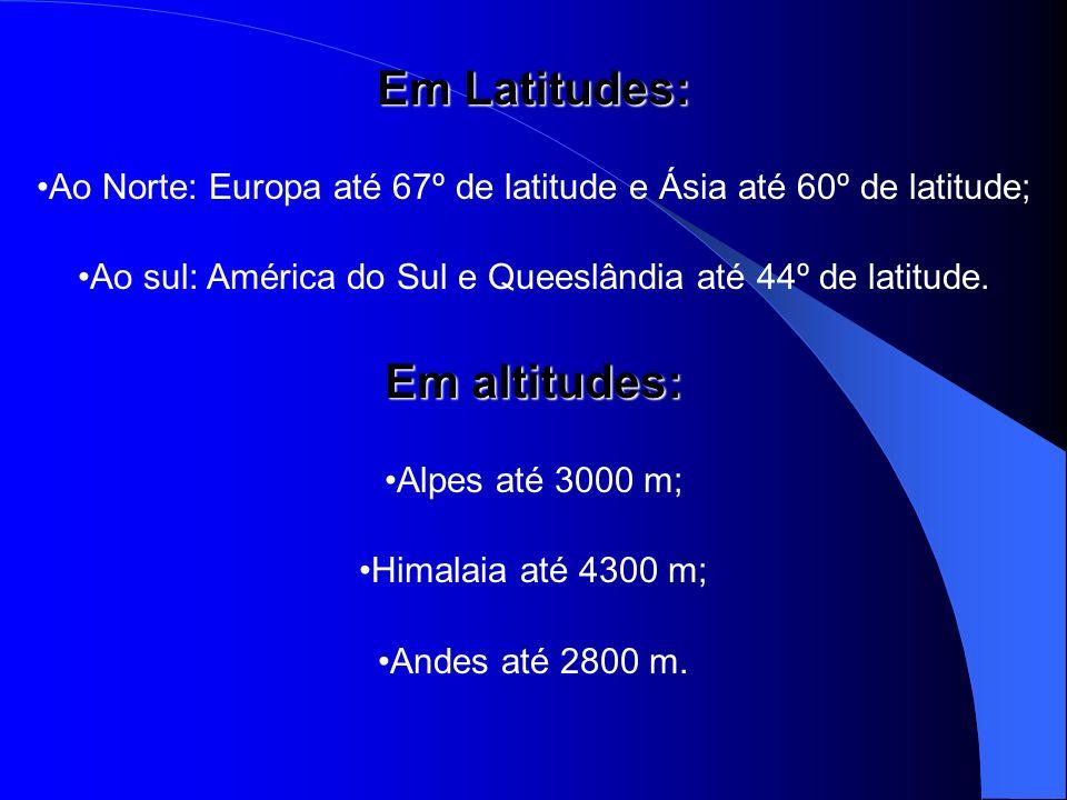 Em Latitudes: Ao Norte: Europa até 67º de latitude e Ásia até 60º de latitude; Ao sul: América do Sul e Queeslândia até 44º de latitude. Em altitudes:
