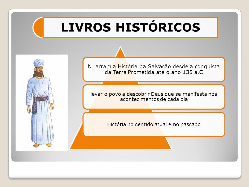 N arram a História da Salvação desde a conquista da Terra Prometida até o ano 135 a.C levar o povo a descobrir Deus que se manifesta nos acontecimento