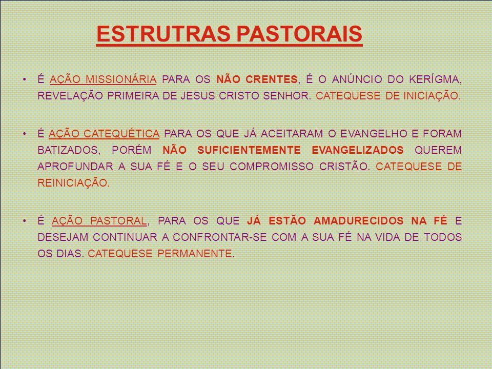 ESTRUTRAS PASTORAIS NÃO BATIZADOS - INICIAÇÃO BATIZADOS INSUFICIENTEMENTE EVANGELIZADOS - REINICIAÇÃO ESCOLA DE FÉ DE FORMAÇÃO - CATECUMENATO PERMANENTE A IGREJA DEVE ESTAR MUITO CONSCIENTE DA NECESSIDADE PERMANENTE DE UM TESTEMUNHO QUALIFICADO.