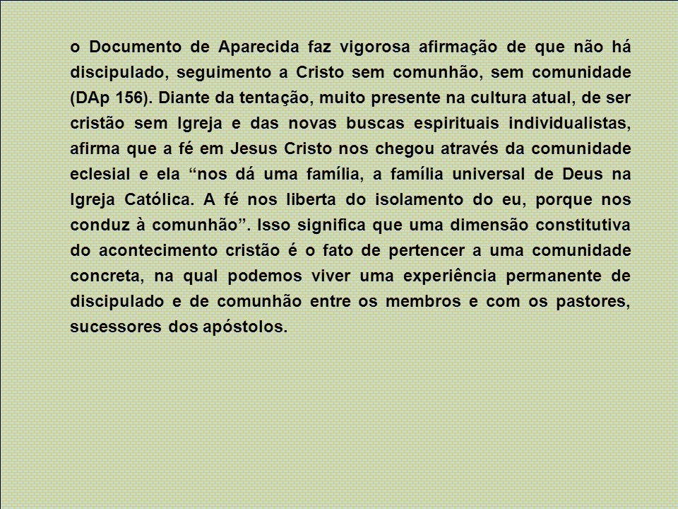 o Documento de Aparecida faz vigorosa afirmação de que não há discipulado, seguimento a Cristo sem comunhão, sem comunidade (DAp 156). Diante da tenta
