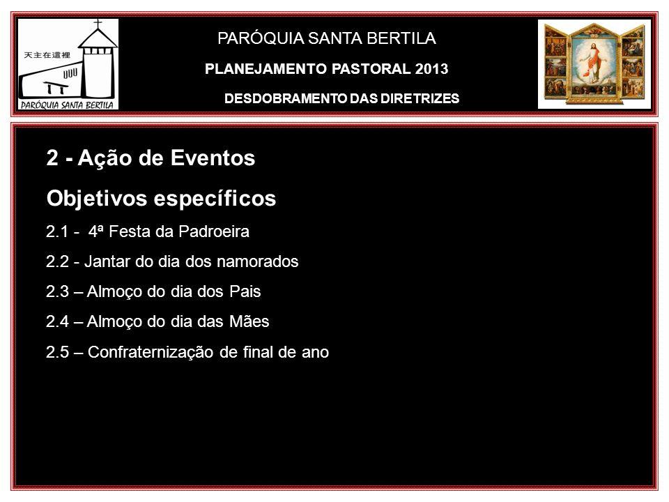 PARÓQUIA SANTA BERTILA 2 - Ação de Eventos Objetivos específicos 2.1 - 4ª Festa da Padroeira 2.2 - Jantar do dia dos namorados 2.3 – Almoço do dia dos