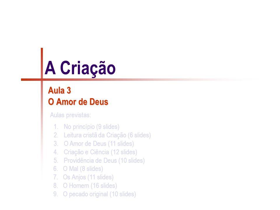 1.No princípio (9 slides) 2.Leitura cristã da Criação (6 slides) 3.O Amor de Deus (11 slides) 4.Criação e Ciência (12 slides) 5.Providência de Deus (10 slides) 6.