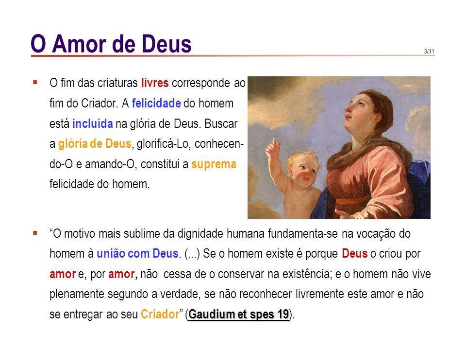 2/11 O Amor de Deus Vaticano IDei Filius, De Vaticano I define que o mundo foi criado para glória de Deus ( Dei Filius, De Deus criador, can. 5 Deus c