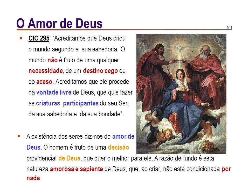 3/11 O Amor de Deus O fim das criaturas livres corresponde ao fim do Criador. A felicidade do homem está incluída na glória de Deus. Buscar a glória d