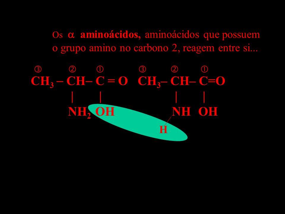 CH 3 CH C = O CH 3 – CH– C=O | | | | NH 2 OH NH OH H Os aminoácidos, aminoácidos que possuem o grupo amino no carbono 2, reagem entre si... neparana@i