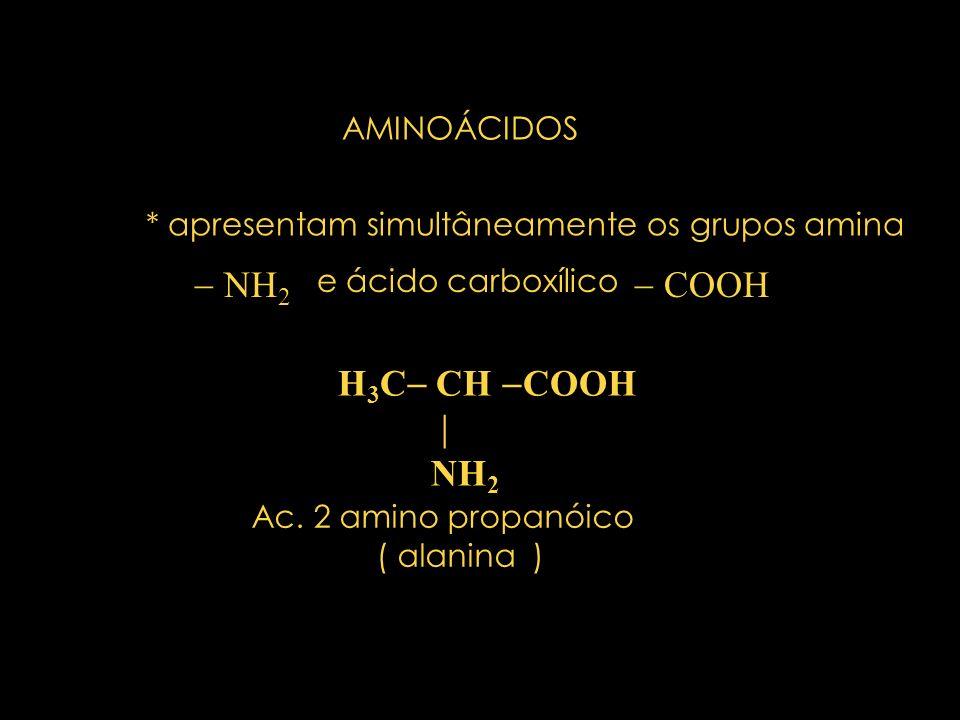 AMINOÁCIDOS * apresentam simultâneamente os grupos amina NH 2 e ácido carboxílico COOH H 3 C CH COOH NH 2 Ac.