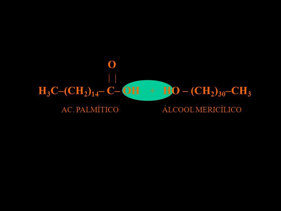 REAÇÃO DE ESTERIFICAÇÃO H 3 C–(CH 2 ) 14 – C– OH | O HO – (CH 2 ) 30 –CH 3 ALC. HENEITRIACONTÍLICO AC. PALMÍTICOÁLCOOL MERICÍLICO + AC. HEXADECANÓICO