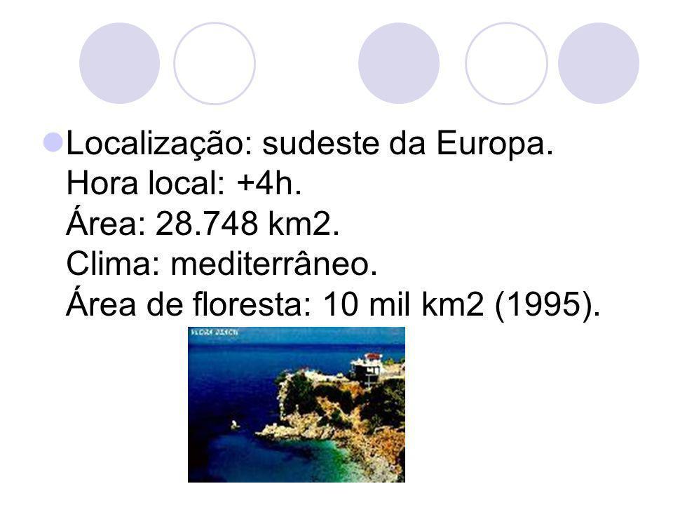 Localização: sudeste da Europa. Hora local: +4h. Área: 28.748 km2. Clima: mediterrâneo. Área de floresta: 10 mil km2 (1995).