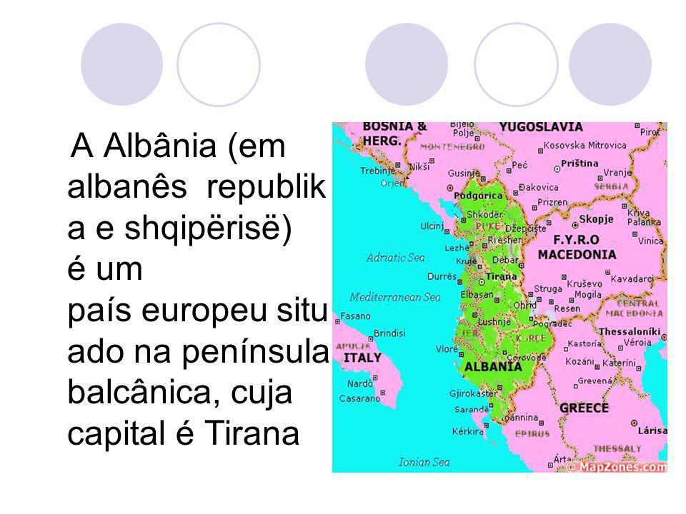 Faz fronteira ao norte com a Sérvia e Montenegro, a leste com a Macedônia, a leste e a sul com a Grécia e a oeste com o Mar Adriático, do outro lado do qual se encontra a Itália.