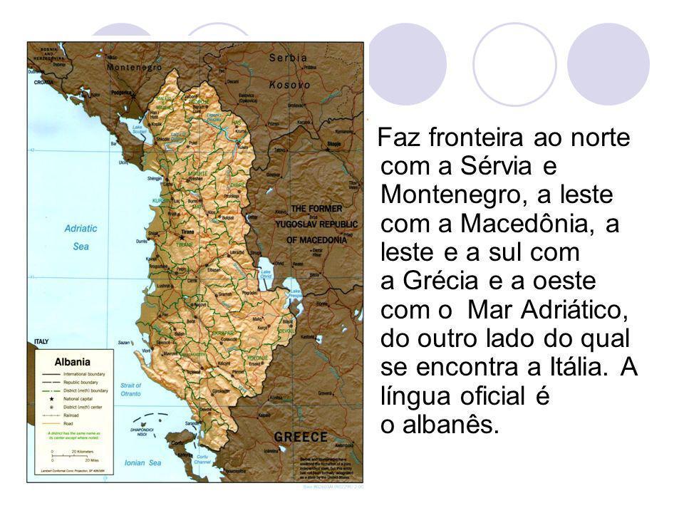 Faz fronteira ao norte com a Sérvia e Montenegro, a leste com a Macedônia, a leste e a sul com a Grécia e a oeste com o Mar Adriático, do outro lado d