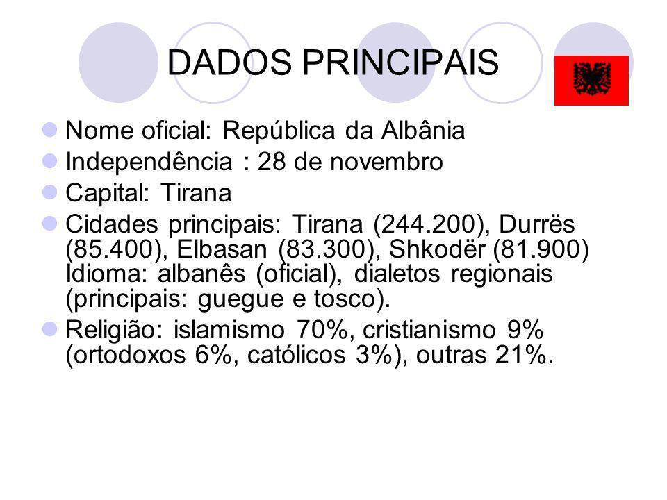 DADOS PRINCIPAIS Nome oficial: República da Albânia Independência : 28 de novembro Capital: Tirana Cidades principais: Tirana (244.200), Durrës (85.40