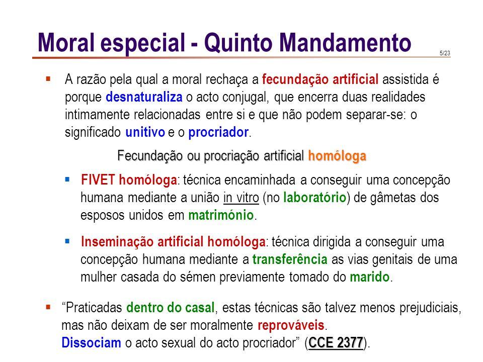 15/23 Moral especial - Quinto Mandamento A vida é um dom de Deus que o homem deve agradecer e cuidar com esmero.