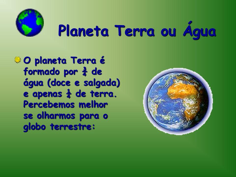 Planeta Terra ou Água O planeta Terra é formado por ¾ de água (doce e salgada) e apenas ¼ de terra. Percebemos melhor se olharmos para o globo terrest
