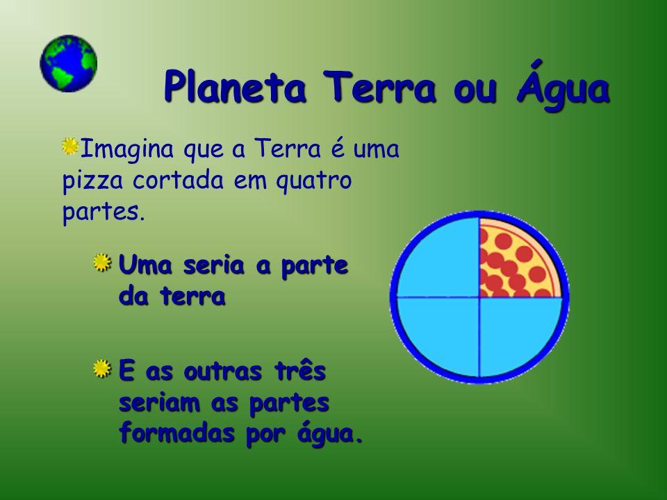 Planeta Terra ou Água Uma seria a parte da terra E as outras três seriam as partes formadas por água. Imagina que a Terra é uma pizza cortada em quatr